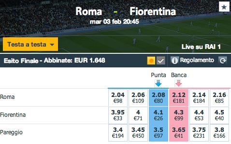 quote Roma - Fiorentina